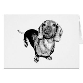 Perro de patas muy cortas blanco y negro de tarjeta de felicitación
