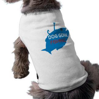 Perro de PawsID ido a pescar la camisa Playera Sin Mangas Para Perro