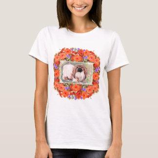 Perro de Pekingese floral Playera