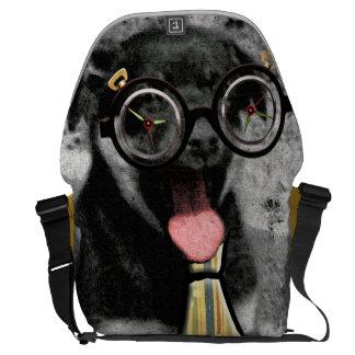 Perro de perrito adorable negro con los vidrios +  bolsa messenger