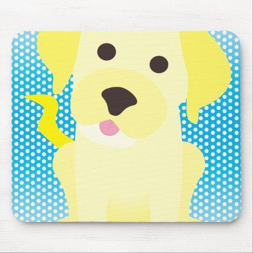 Perro de perrito amarillo en azul tapete de ratón