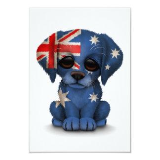 """Perro de perrito australiano patriótico lindo de invitación 3.5"""" x 5"""""""