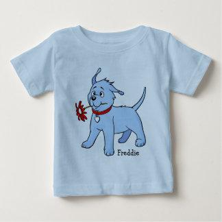Perro de perrito azul con la flor - camiseta del playera