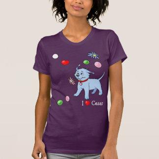 Perro de perrito azul con la flor y los juguetes - poleras