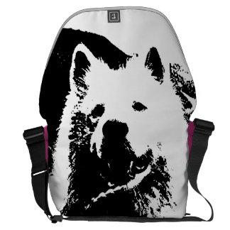 """Perro de perrito """"blanco y negro"""" monocromático de bolsas messenger"""