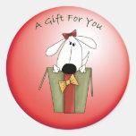 Perro de perrito caprichoso del regalo del navidad pegatinas redondas