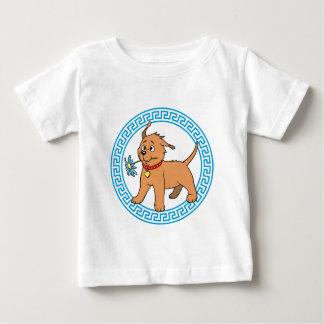 Perro de perrito con la flor azul - camiseta del