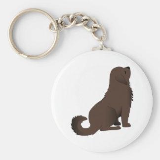 Perro de perrito de Brown que se sienta que mira Llavero Personalizado