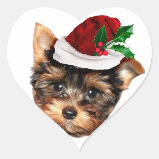 Perro de perrito de Chrismtas Yorkshire Terrier Pegatina En Forma De Corazón