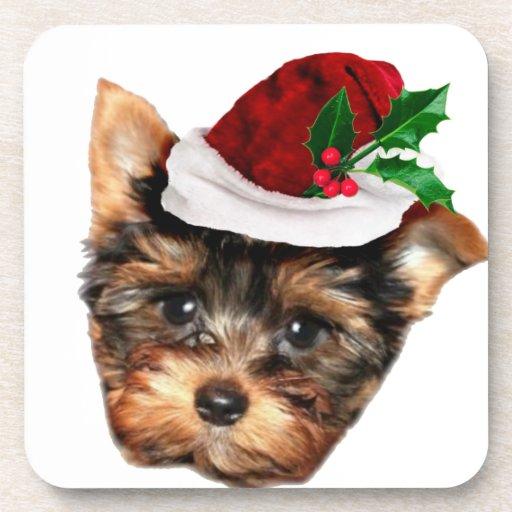 Perro de perrito de Chrismtas Yorkshire Terrier Posavasos