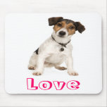 Perro de perrito de Jack Russell Terrier del amor  Alfombrillas De Ratón