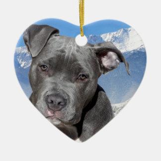 Perro de perrito de Pitbull Terrier del americano Ornamento Para Arbol De Navidad