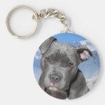 Perro de perrito de Pitbull Terrier del americano Llavero Redondo Tipo Pin