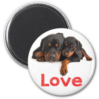 Perro de perrito de Rottweiler del amor Imán Redondo 5 Cm