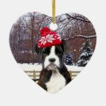 Perro de perrito del boxeador del navidad adorno navideño de cerámica en forma de corazón