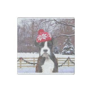 Perro de perrito del boxeador del navidad imán de piedra