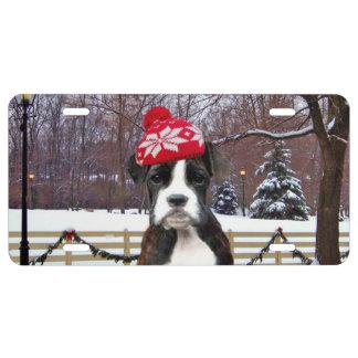 Perro de perrito del boxeador del navidad placa de matrícula