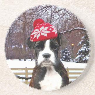 Perro de perrito del boxeador del navidad posavasos para bebidas