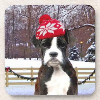 Perro de perrito del boxeador del navidad posavasos de bebida