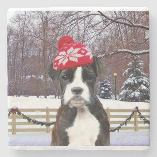 Perro de perrito del boxeador del navidad posavasos de piedra