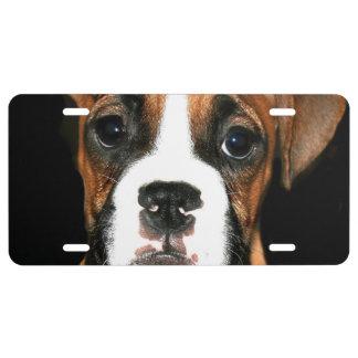 Perro de perrito del boxeador placa de matrícula