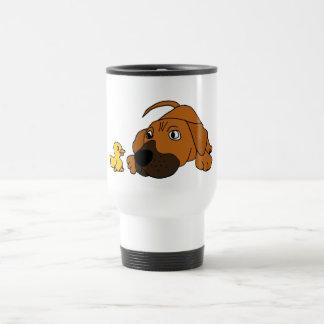 Perro de perrito del CV Brown con el dibujo animad Taza De Viaje De Acero Inoxidable