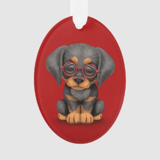 Perro de perrito del Doberman con los vidrios de l