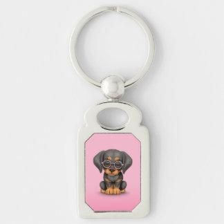 Perro de perrito del Doberman con los vidrios de Llavero Plateado Rectangular