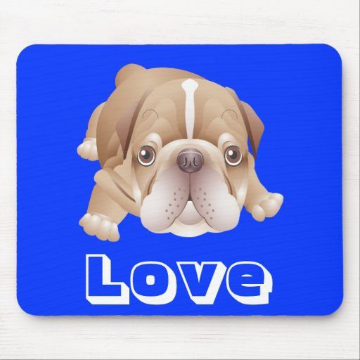 Perro de perrito del dogo del amor Mousepad azul g Alfombrillas De Raton