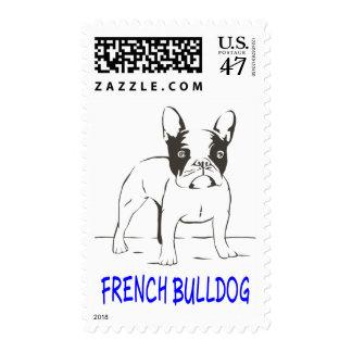 Perro de perrito del dogo francés - amor azul de sello postal