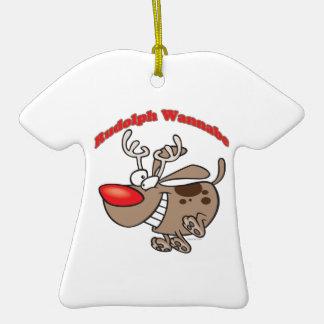 perro de perrito del imitador del reno adorno de cerámica en forma de playera