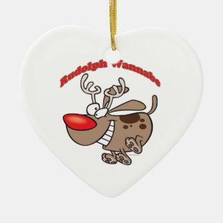 perro de perrito del imitador del reno adorno de cerámica en forma de corazón