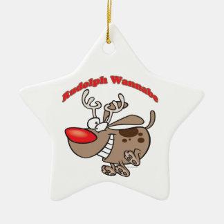 perro de perrito del imitador del reno adorno de cerámica en forma de estrella