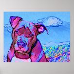 Perro de perrito del pitbull del arte pop póster