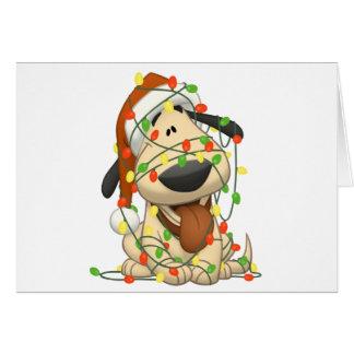 Perro de perrito divertido de las luces de navidad tarjeta de felicitación