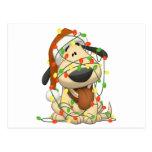 Perro de perrito divertido de las luces de navidad postal