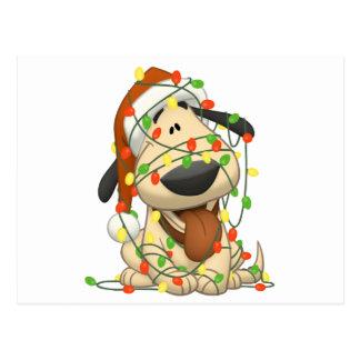 Perro de perrito divertido de las luces de navidad tarjetas postales