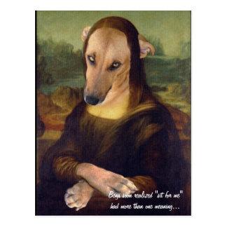 Perro de perrito divertido de Mona Lisa Postal
