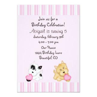 Perro de perrito e invitación del cumpleaños de invitación 12,7 x 17,8 cm