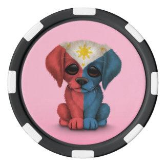 Perro de perrito filipino patriótico lindo de la juego de fichas de póquer