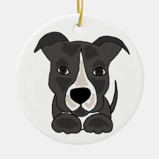 Perro de perrito gris lindo de Pitbull Adorno Navideño Redondo De Cerámica