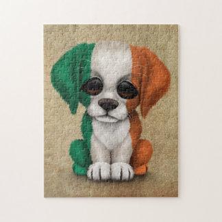 Perro de perrito irlandés patriótico lindo de la rompecabeza con fotos