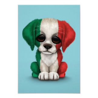 """Perro de perrito italiano patriótico lindo de la invitación 3.5"""" x 5"""""""