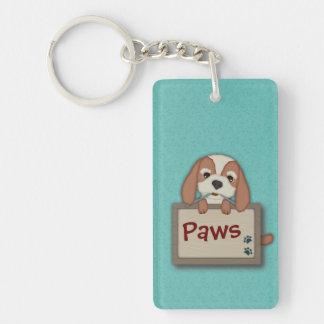 Perro de perrito lindo adaptable con el letrero llavero rectangular acrílico a doble cara