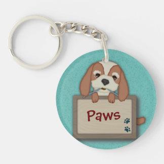 Perro de perrito lindo adaptable con el letrero llavero redondo acrílico a doble cara