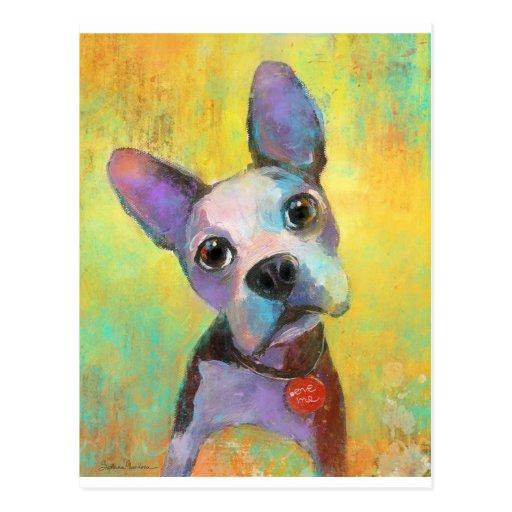 Perro de perrito lindo de Boston Terrier Svetlana  Tarjeta Postal