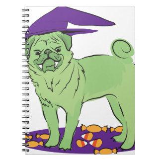 Perro de perrito lindo de Halloween del barro Libro De Apuntes Con Espiral