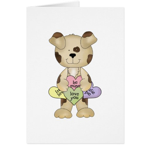 perro de perrito lindo de los corazones del tarjeta de felicitación