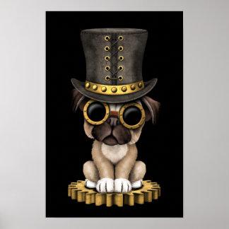 Perro de perrito lindo del barro amasado de Steamp Póster