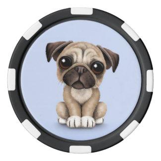 Perro de perrito lindo del barro amasado del bebé juego de fichas de póquer